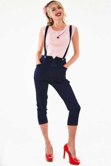 Esther Denim Capri Skinny Trousers with Removable Suspenders