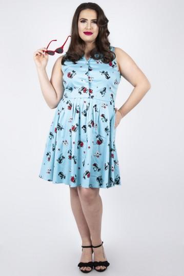 Curve Betty Kitchen Kitty Print Shirt Dress