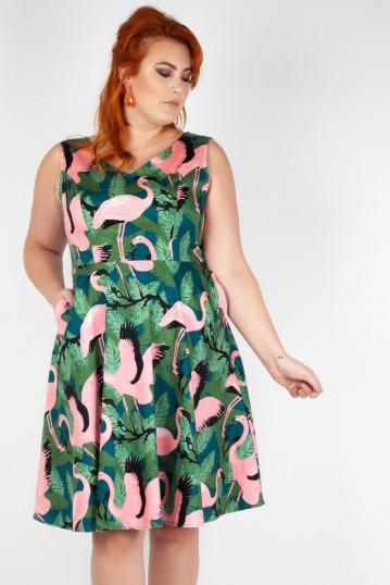 Curve Fifi Flamingo Flared Dress
