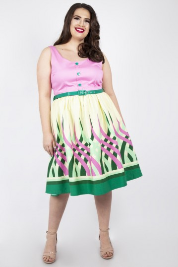 Curve Polly Colour Wheel Border Print Flared Dress