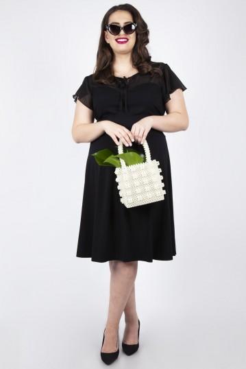 Curve Victoria Black Flutter Sleeve Dress
