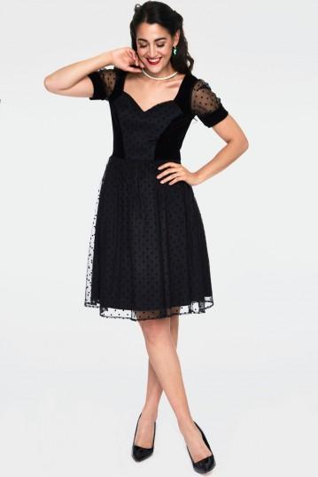 Vonda Velvet Polka Dot Burnout Flared Dress