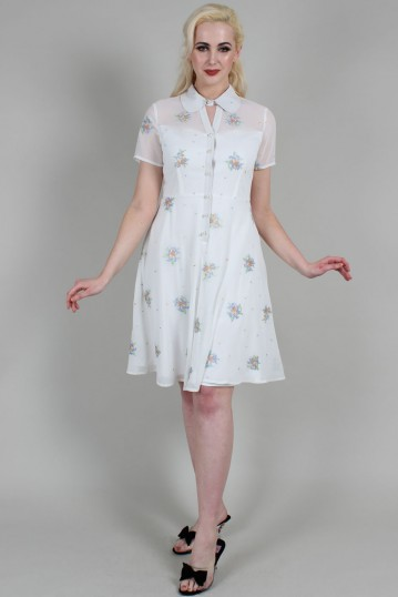 Wonder White Chiffon Floral Embroidered Flared Dress