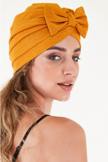 Elsie Mustard Bow Turban