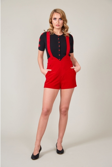 Red Rosalie Corduroy Shorts with Button Detail