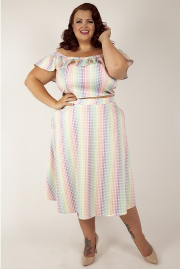 Curve Courtney Gingham Cropped Top with heart shaped pockets