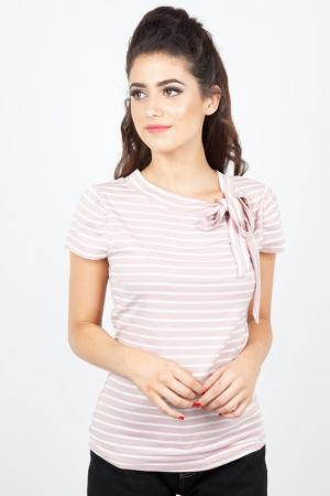 Alexa Collar Bow Stripe Top