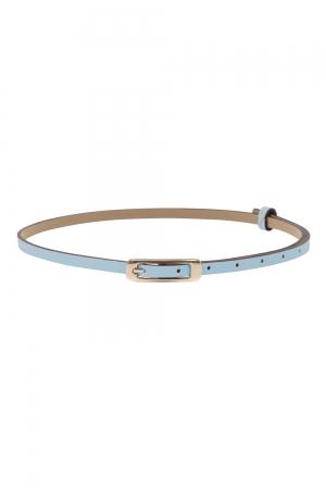 Slim Belt With Gold Buckle Blue