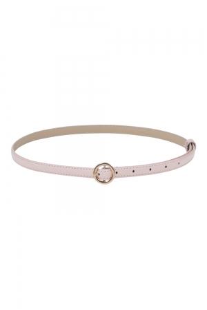 Slim Patent Belt With Round Buckle Pink