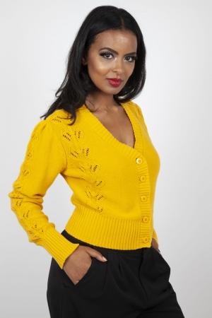 Julia 40s Mustard Cardigan