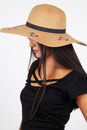 Cherry Sun Hat Beige
