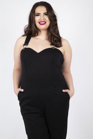 Connie Fitted Capri Overalls Black Plus Size