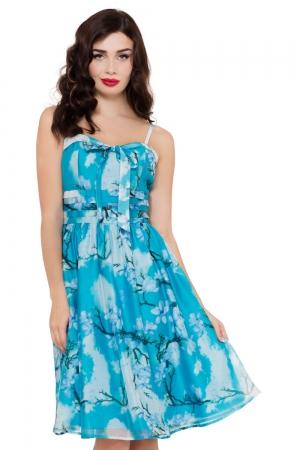 Clara Blue Dress with Bow Tie
