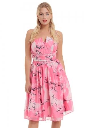 Clara Pink Dress with Neckline Detail
