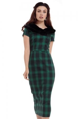 Rachel Tartan Pencil Dress With Fur Collar
