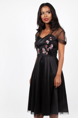 Zoe Black Floral Emboidery Dress