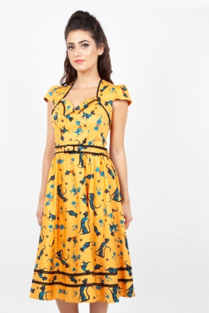 Savannah Mustard Cat Print Dress