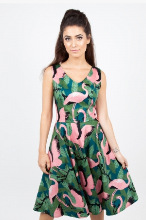 Fifi Flamingo Flared Dress