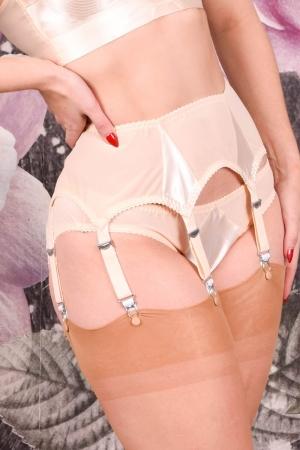Peach Satin Suspender Belt Harlow Nouveau by What Katie Did