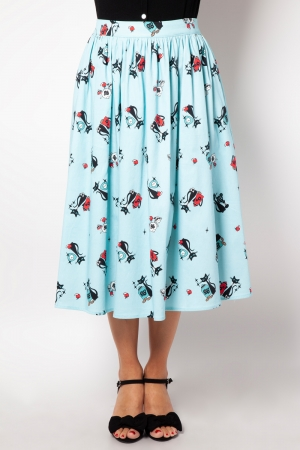 Harper Kitty Print Flare Skirt