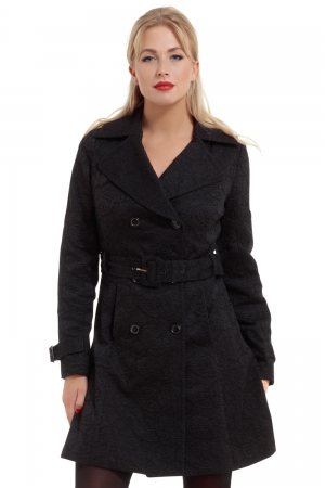 Susan Black Trench Coat With Lace Overlay