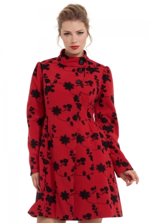 Joan Red Floral Coat