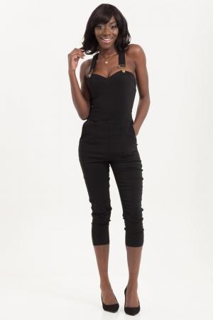 Connie Fitted Capri Overalls Black