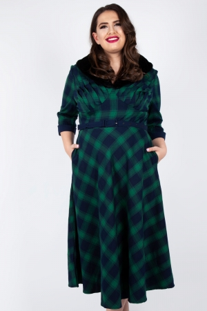 Lola Tartan Flare Dress Plus Size