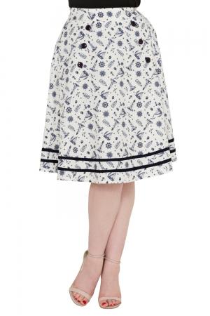 Barbara Flared Nautical Skirt