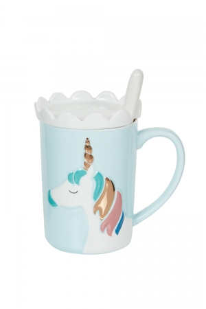 Blue Unicorn Mug With Coaster