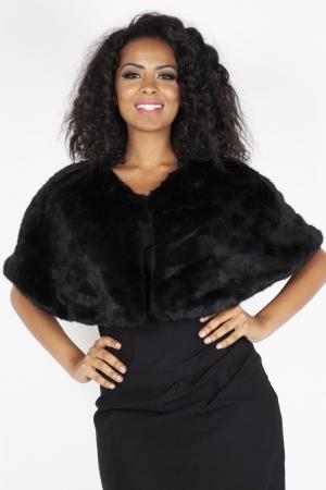 Black Faux Fur Shawl