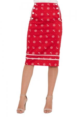 Valerie Nautical Pencil Skirt