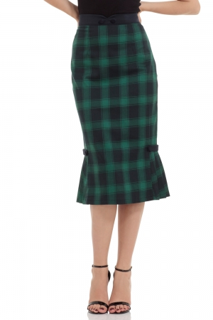 Agnes Pleated Hem Pencil Black/Green Skirt