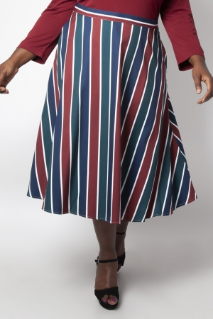 Madelyn Striped Full Circle Plus Size Skirt