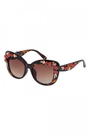 Decorative Floral Glasses Brown