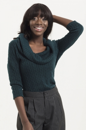 Elena Knitted Cowl Neck Sweater