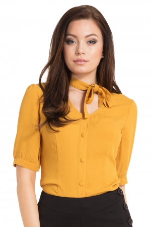 Candice Neck Bow Button Down