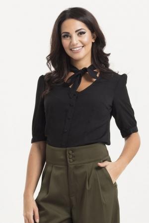 Katherine 40s Style Black Blouse