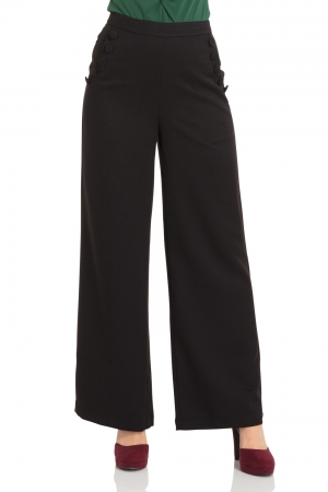 Roma Black 40s Style Trousers
