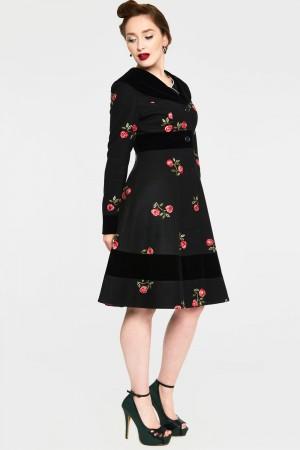 Flo Black and Red Floral Flocked Coat