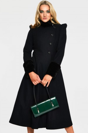 Violet Black Fur Trim Dress Coat