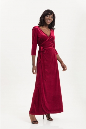 Elizabeth Long Length Wrap Dress in Embossed Velvet