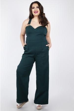 Vixen Curve Lelani Green Wide Leg Overalls