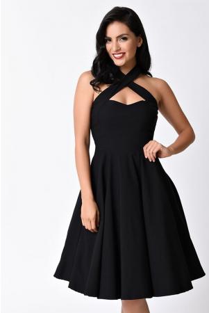 Rita Black Halter Flare Dress by Unique Vintage