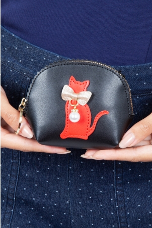 Coco Kitty Coin Purse in Black