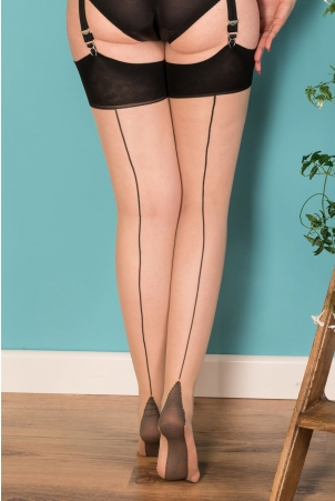 Seamed Stockings Contrast Black Glamour by What Katie Did