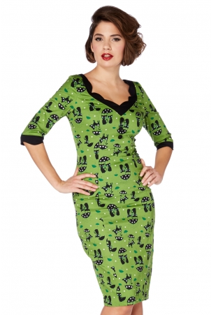 Jade Kat Green Cat in the Rain Wiggle Dress