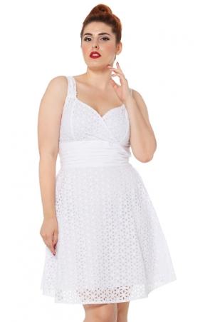 Billie Blush White Flared Cotton Dress