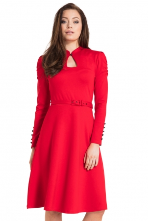Dita 50s Flared Red Dress with Cut-out