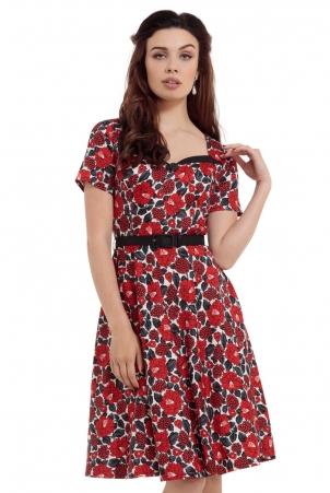 Poppy Red Floral Skater Dress